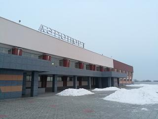 The renovated facade of the terminal of the Chita Kadala airport