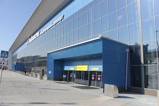 The entrance to the passenger terminal of Vladivostok airport