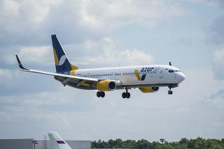 Boeing-737-900 VQ-BYO of the airline Azur Air before landing at Vnukovo airport