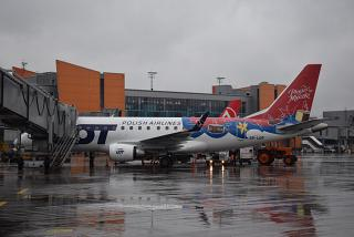"Embraer 170 airline LOT in a special color ""bird's milk"" at Sheremetyevo airport"