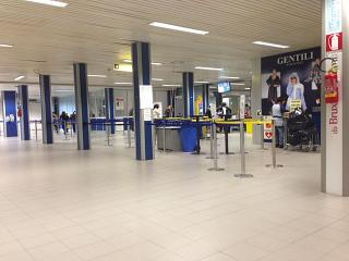 The departure lounge at the airport of Rimini