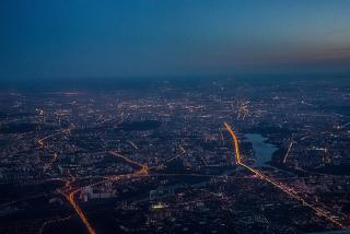 Views of the evening Moscow before landing at Sheremetyevo