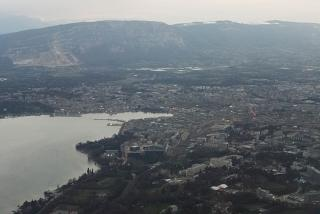The view during takeoff at Geneva