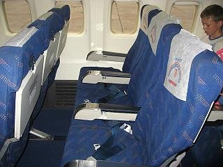 The economy class cabin of a Boeing 737-400 airlines Yamal