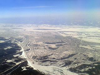 The city of Yakutsk and the Lena river
