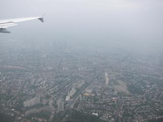 In flight over Frankfurt am main