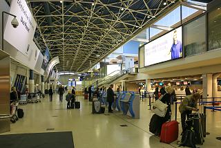 The check-in area for flights at Terminal 1 of airport Helsinki, Vantaa