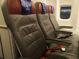The passenger seats on the Boeing-737-800 airlines Fly Pegas
