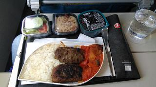 In-flight meals on the flight of Turkish airlines from Moscow to Antalya