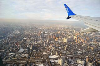 Views of Kiev during takeoff from the airport Zhulyany