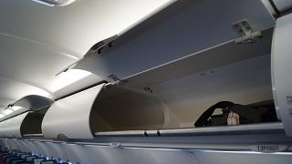 The overhead bin in the Airbus A320 of Aeroflot