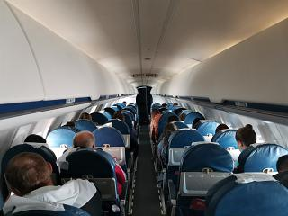 The cabin of the Bombardier CRJ100 aircraft of Rusline