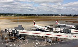 A British Airways aircraft at terminal 5 of London Heathrow airport