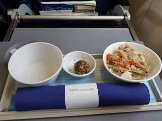 The food in business class on a regional flight for Croatia Airlines