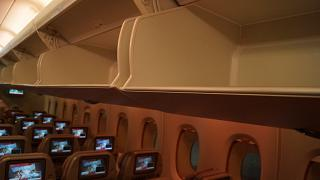 The overhead bin in the Airbus A380 of Emirates airlines