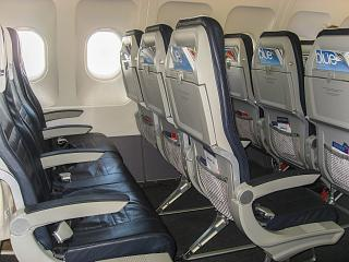 The passenger seats in the Airbus A320 Aegean airlines