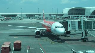 The Airbus A320 airline AirAsia at the airport in Kuala Lumpur