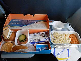 In-flight meals on the flight Krasnoyarsk-Moscow NordStar airlines