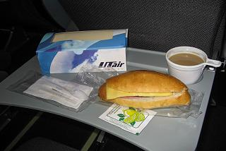 Sandwich and coffee on the flight Bourgas-Moscow of the airline UTair