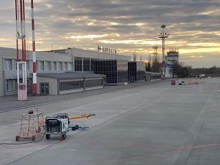 View from the apron to the passenger terminal of Voronezh airport