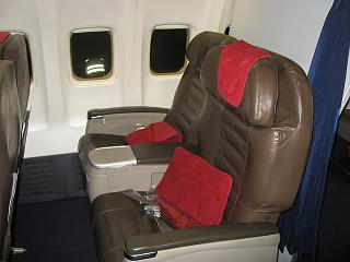 Seats in business class on the Boeing-737-700 EI-RUL Transaero airlines