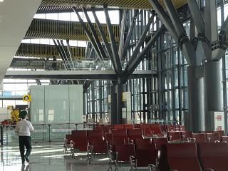 The waiting room in a clean zone of terminal 1 of the airport of Astana
