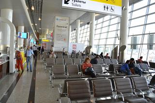 The waiting room in a clean zone of terminal D of Sheremetyevo airport