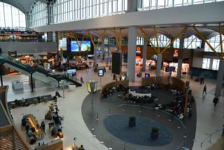 In the international departure area at the passenger terminal of the new Istanbul airport