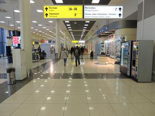 In the clean zone of terminal E of Sheremetyevo airport