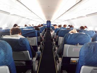 The cabin of the Airbus A320 Ural airlines