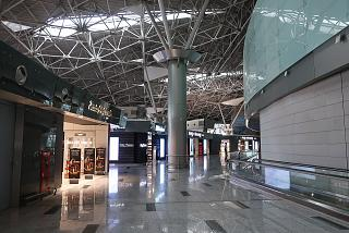 Shops in the clean area of domestic departures of terminal A of Moscow Vnukovo airport