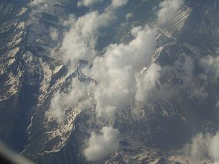 In flight over the Caucasus mountains