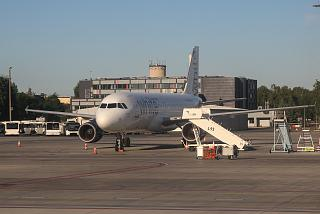 Airbus A320 White Airlines at the airport in Riga
