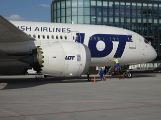 Boeing-787-8 LOT airline at the airport of Astana