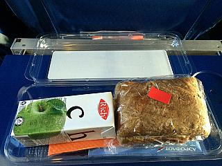 A meal on the Aeroflot flight Moscow-Saint Petersburg