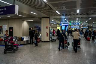 Baggage claim in terminal 3 of Rome airport Fiumicino