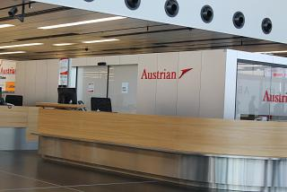 Representative of Austrian airlines at Vienna airport