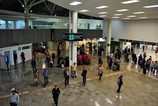 Arrival area of domestic airlines in terminal T1 of the airport of Mexico city Benito Juarez