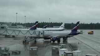 The planes of Aeroflot at terminal D of Sheremetyevo airport