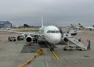 The Airbus A320 BH Air at Manchester airport