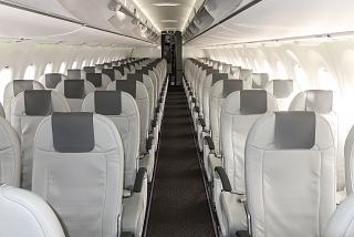 Passenger cabin of one of Airbus A220-300 of airBaltic fleet