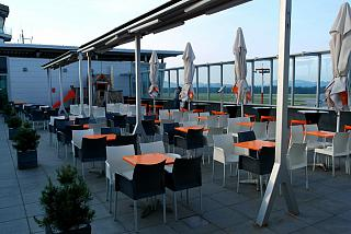 Cafe on the observation deck at the airport Ljubljana
