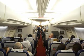 The passenger cabin of the aircraft Boeing-757-200 airlines Royal Flight