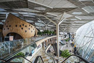 General view inside the terminal 1 of the airport of Baku