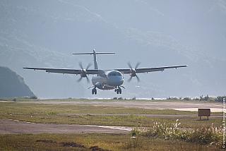 ATR-72 of airline Wings Air landing at the airport end