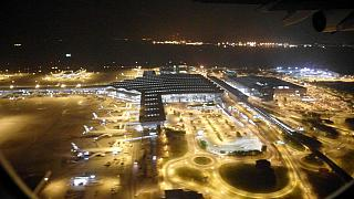 Views of the Hong Kong airport during takeoff night