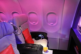 The business class in the Airbus A320 Virgin America airline