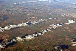 In flight over England. Below the town of Carterton.