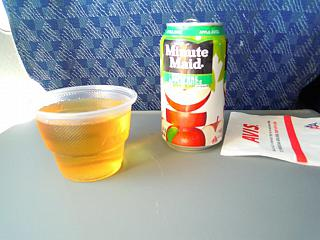 Refreshments on the flight from new York to Orlando American Airlines