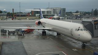 The plane MD-80 of SAS at Oslo airport Gardermoen
